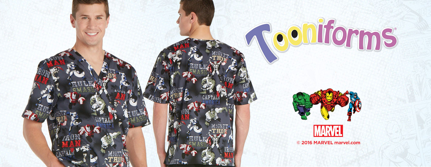 Marvel Print Scrub Tops